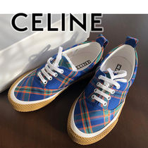 CELINE Other Check Patterns Wedge Plain Toe Casual Style