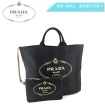 PRADA CANAPA Casual Style Canvas A4 2WAY Plain Handbags