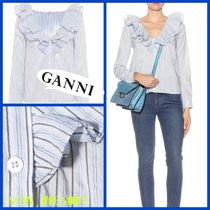 Ganni Stripes Cropped Cotton Shirts & Blouses