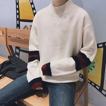 Knits & Sweaters Stripes Street Style Long Sleeves Oversized Knits & Sweaters