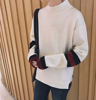 Knits & Sweaters Stripes Street Style Long Sleeves Oversized Knits & Sweaters 6