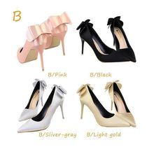 Plain Pin Heels Party Style Pointed Toe Pumps & Mules