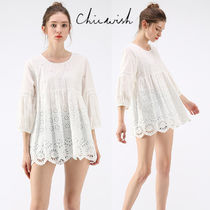 Chicwish Crew Neck Flower Patterns Cropped Plain Medium Elegant Style