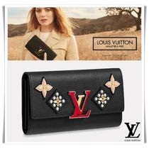 Louis Vuitton Flower Patterns Blended Fabrics Plain Leather With Jewels
