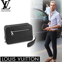 Louis Vuitton TAIGA 2WAY Plain Leather Clutches