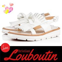 Christian Louboutin Open Toe Rubber Sole Casual Style Espadrille Shoes