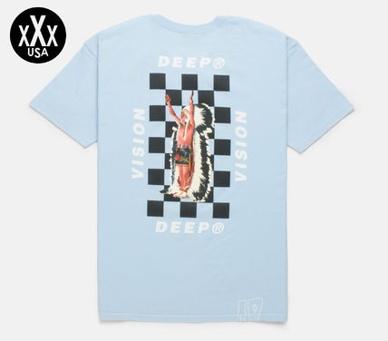 Crew Neck Other Check Patterns Street Style Short Sleeves