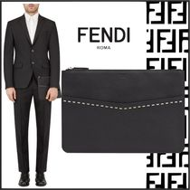 FENDI SELLERIA Plain Leather Clutches