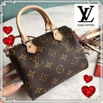 Louis Vuitton SPEEDY Monogram Casual Style Canvas 2WAY Leather Party Style