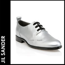 JIL SANDER NAVY Plain Toe Plain Leather Elegant Style