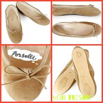 PORSELLI Round Toe Casual Style Suede Plain Ballet Shoes