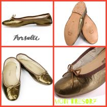 PORSELLI Round Toe Casual Style Plain Leather Ballet Shoes