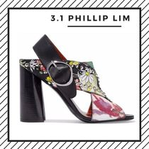 3.1 Phillip Lim Flower Patterns Open Toe Casual Style Studded Street Style