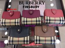 Burberry Other Check Patterns Blended Fabrics Plain Leather