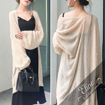 Casual Style V-Neck Long Sleeves Plain Long Gowns Cardigans