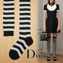 Christian Dior Stripes Cashmere Street Style Socks & Tights