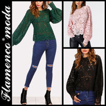 Long Sleeves Plain Lace Elegant Style Shirts & Blouses