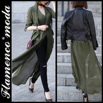 Long Sleeves Elegant Style Khaki Shirts & Blouses