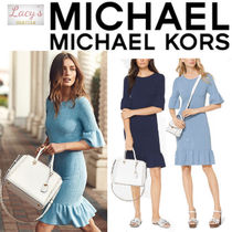 Michael Kors Crew Neck Tight Nylon Street Style Plain Medium Fringes