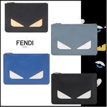 FENDI BAG BUGS Street Style 2WAY Plain Leather Clutches