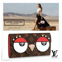 Louis Vuitton PORTEFEUILLE SARAH Monogram Blended Fabrics Leather With Jewels Long Wallets