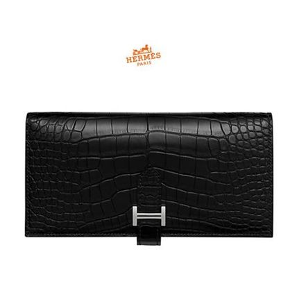 18SS Bearn Soufflet Black Alligator Mat x Chevre Long Wallet