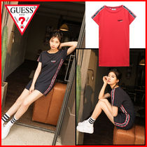 Guess Casual Style Cotton Medium Short Sleeves Dresses