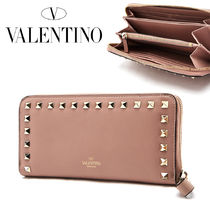 VALENTINO Plain Leather Long Wallets