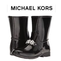 Michael Kors Round Toe Rubber Sole Plain With Jewels Rain Boots Boots