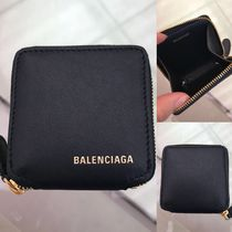 BALENCIAGA Unisex Plain Leather Coin Cases