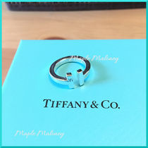 Tiffany & Co Tiffany T Costume Jewelry Unisex Silver Elegant Style Rings