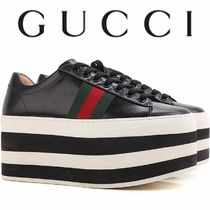 GUCCI Platform Round Toe Lace-up Casual Style Street Style Leather
