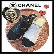 CHANEL ICON Round Toe Casual Style Blended Fabrics Bi-color Plain