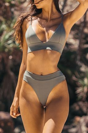 GOOSEBERRY Lace Up Plain Swimwear