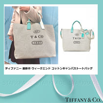 Tiffany & Co Casual Style Canvas Blended Fabrics A4 2WAY Plain Totes