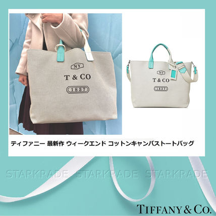 Casual Style Canvas Blended Fabrics A4 2WAY Plain Totes