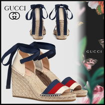 9afb50c2029 GUCCI Stripes Platform Round Toe Casual Style Blended Fabrics