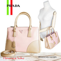 PRADA GALLERIA Saffiano 2WAY Bi-color Plain Elegant Style Totes