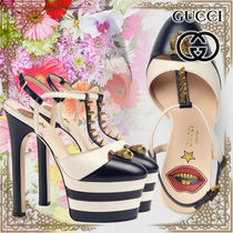 GUCCI Star Platform Plain Toe Casual Style Leather