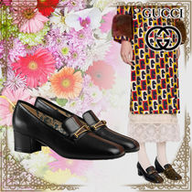 GUCCI Flower Patterns Plain Toe Casual Style Leather Chunky Heels