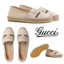 GUCCI Round Toe Casual Style Slip-On Shoes