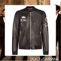Dolce & Gabbana Street Style Plain Leather Medium Varsity Jackets