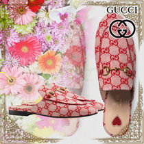 GUCCI Heart Wedge Plain Toe Casual Style Leather Slippers