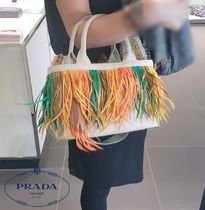 PRADA Casual Style Canvas A4 Plain Fringes Totes