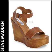 Steve Madden Open Toe Plain Leather Elegant Style