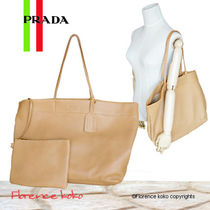 PRADA Unisex 2WAY Plain Leather Elegant Style Totes