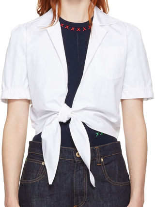 Short Casual Style Chain Plain Cotton Short Sleeves Cropped