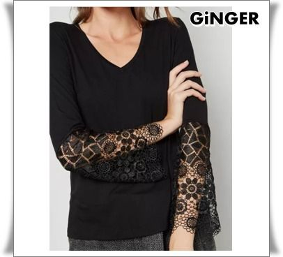V-Neck Long Sleeves Plain Long Lace T-Shirts