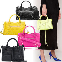 BALENCIAGA CITY Casual Style Lambskin 2WAY Plain Totes