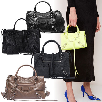 Casual Style Lambskin 2WAY Plain Totes